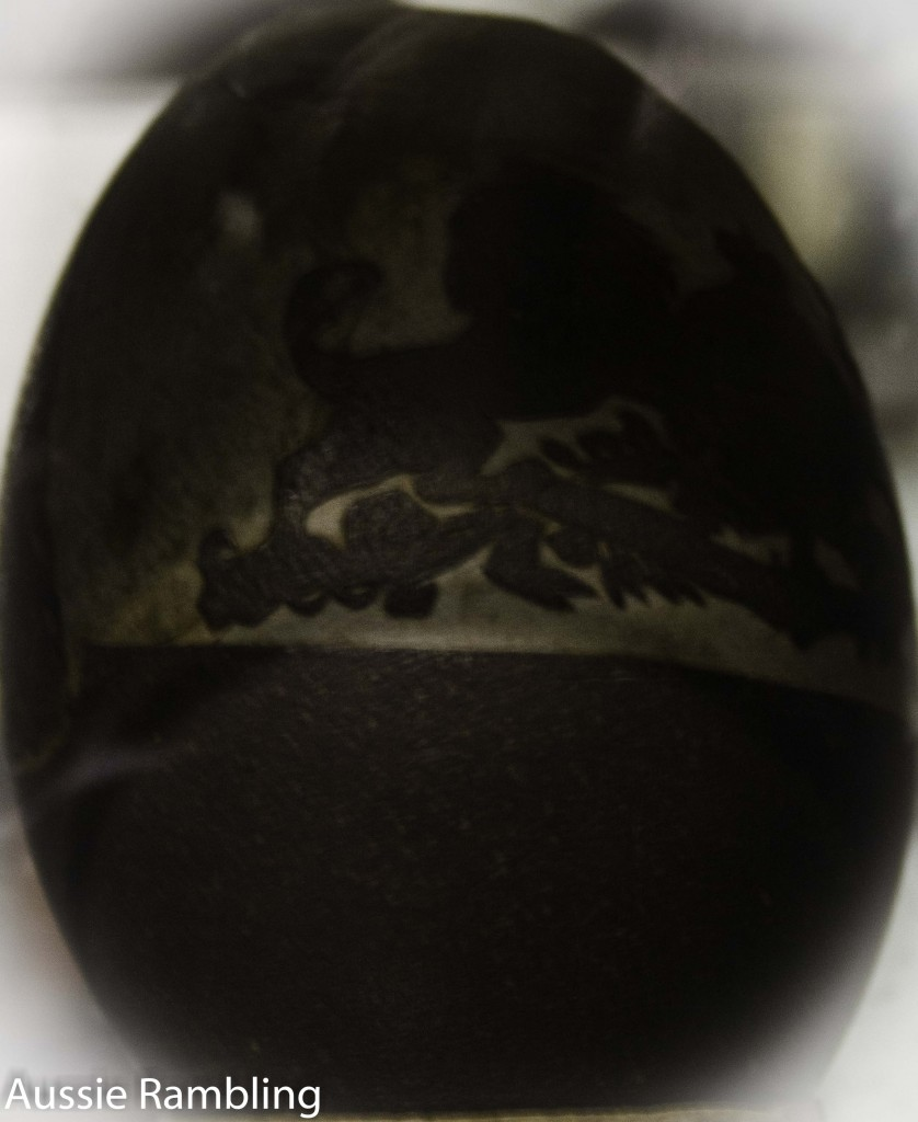 Emu Egg laid on Begary Station when it belonged to the McCormacks. The coat of arms was engraved by a local Aboriginal at the time. Emu egg was donated to the Corryong museum.