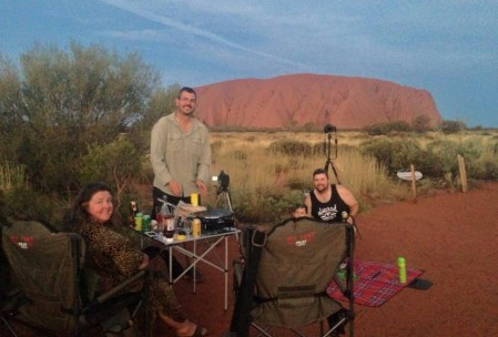 BBQ at the Uluru with the Holloway's. Photo courtesy of Meg.