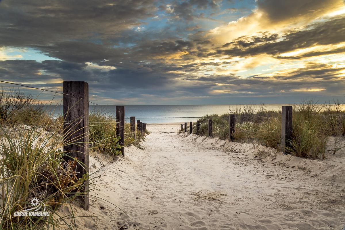 The beach access to Grange Beach at Sunset