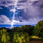 Lightning over Ocean and Trees in Darwin Northern Territory