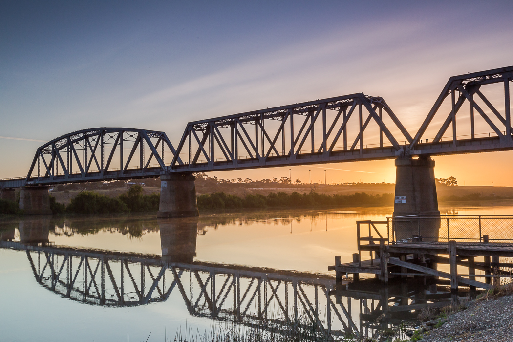 Murray Bridge Railway Bridge at Sunrise over the Murray River.