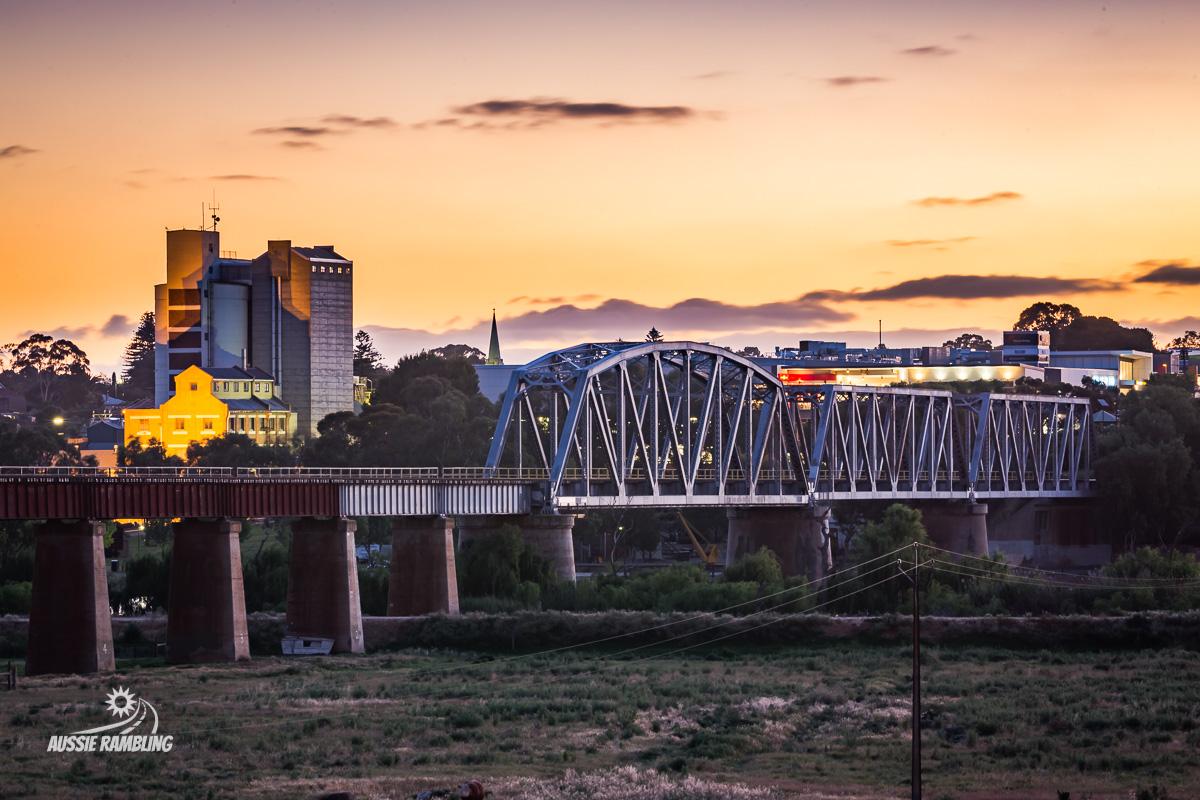 Looking back at the Murray Bridge Railway Bridge at Sunset.