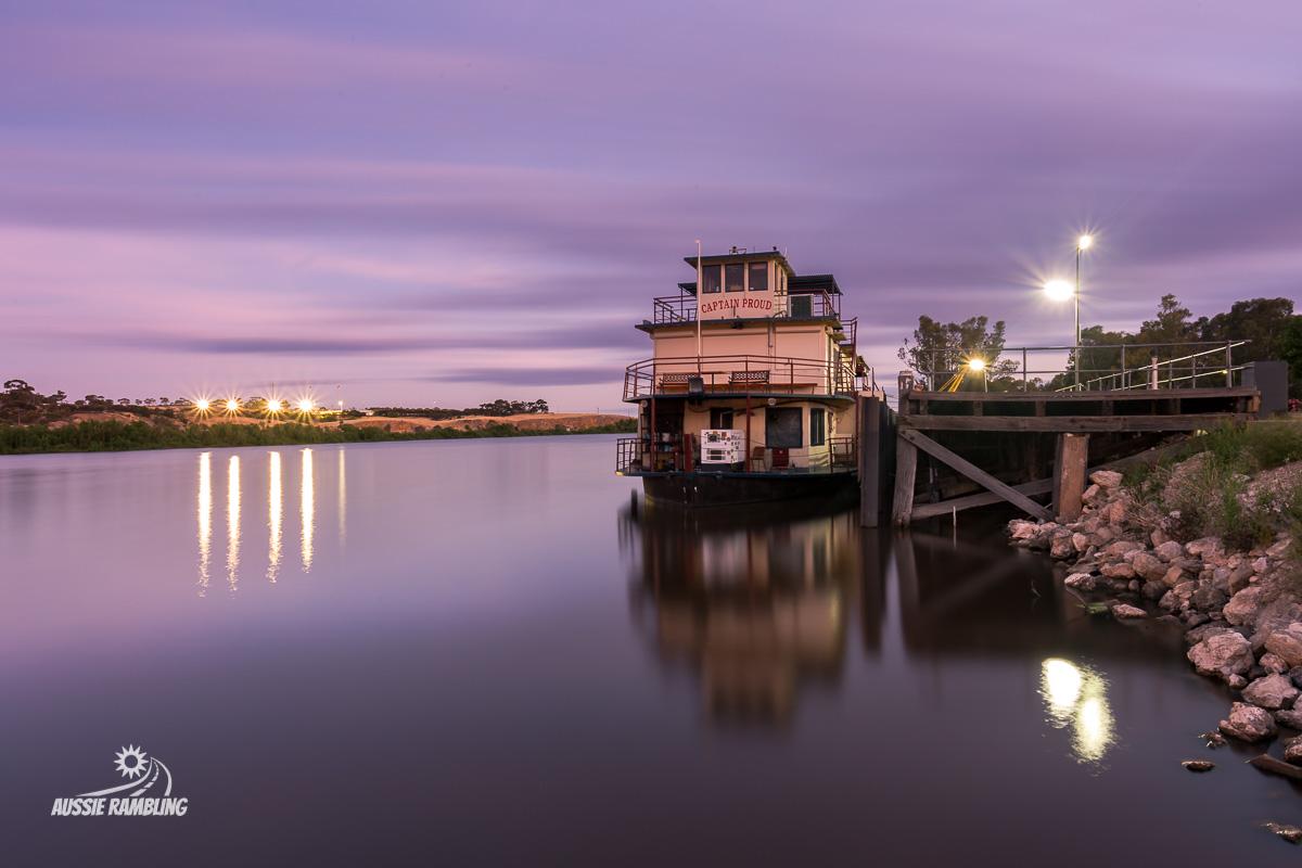 Captain Proud sitting next to the historic wharf at Murray Bridge