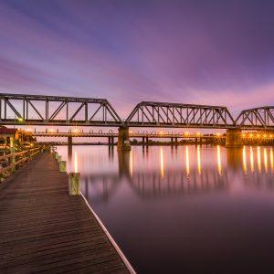 Sunset over the Murray Bridge, Bridges South Australia